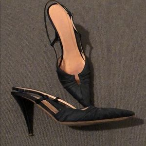 Shoes - Black sling backs with patent leather heels